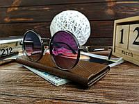 Стильные солнцезащитные очки в стиле ретро Унисекс (фиолетовый отлив), фото 1