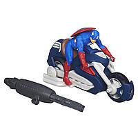 Ігровий набір 2в1 Капітан Америка на мотоциклі з пусковим механізмом, 15 см - Captain America Blast-n-Go