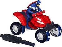 Игровой набор 2в1 Капитан Америка на квадроцикле с пусковым механизмом 15 см - Captain America Blast-n-Go