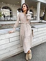 Женское лёгкое платье-двойка из шифона и шелка