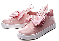Ботинки, слипоны детские  розовые с ушками зайца Cosby