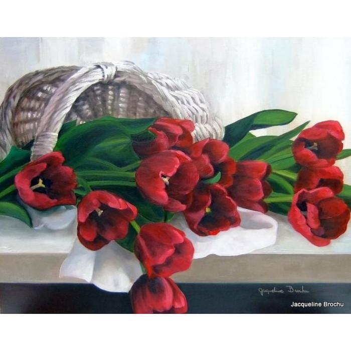Картина по номерам Идейка - Тюльпаны в корзинке 40x50 см (КНО2064)