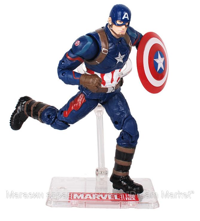 Коллекционная игровая Фигурка Капитан Америка с держателем, Мстители, 18 см - Captain America, Avengers,