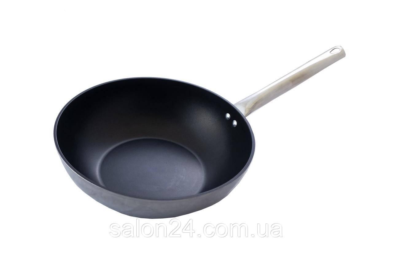 Сковорода-wok антипригарная Биол - 280 мм x 4л, с нержавеющей ручкой