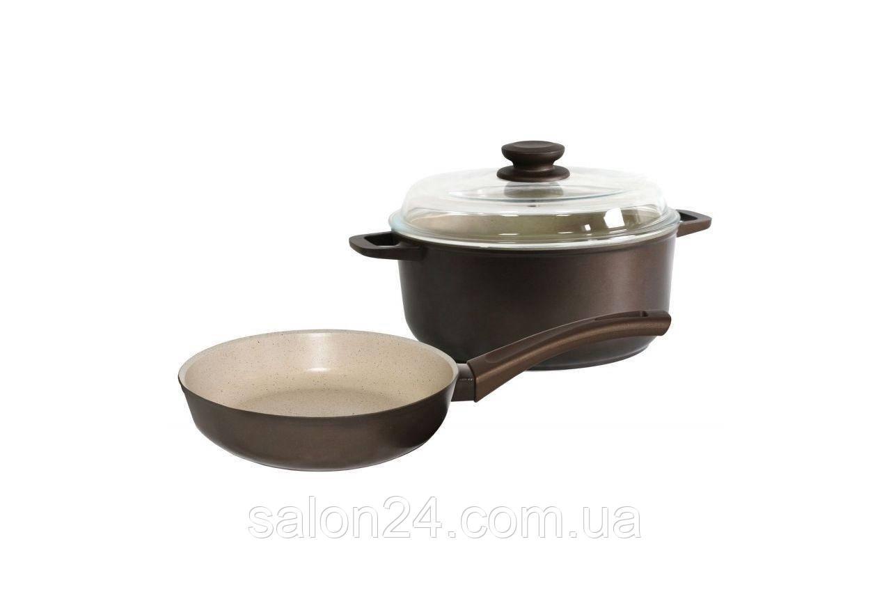 """Набор посуды антипригарный Биол - сковорода 220 мм + кастрюля 3 л """"мокко"""""""