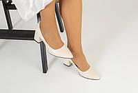 Женские кожаные туфли-лодочки на каблуке, молочные, код FS-7404-4
