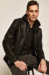 Куртка кожаная мужская с капюшоном