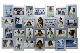 Большая настенная фоторамка Invotis Collage 28 (3 цвета) Серебристый