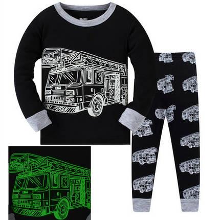 Пижама детская для мальчика 3-7 лет светится в темноте, фото 2