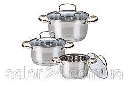 Набор посуды нержавеющий Maestro - 2 х 3 х 4 л, (3 шт.) MR-3516-6M