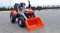 Экскаватор бульдозер трактор с педалями и ковшом веломобиль педальный оранжевый большой от 3 до 8 лет