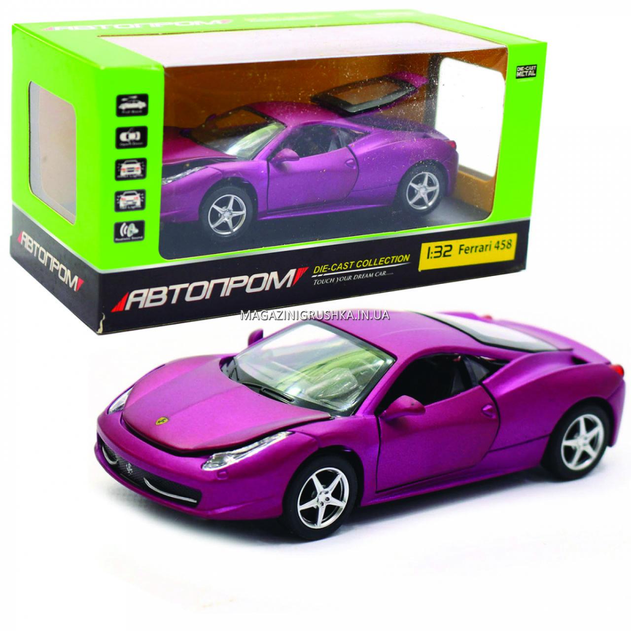 Машинка ігрова автопром «Ferrari 458» метал, 14 см, світло, звук, двері відкриваються (3201C)