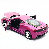 Машинка ігрова автопром «Ferrari 458» метал, 14 см, світло, звук, двері відкриваються (3201C), фото 6