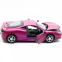 Машинка ігрова автопром «Ferrari 458» метал, 14 см, світло, звук, двері відкриваються (3201C), фото 7