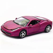 Машинка ігрова автопром «Ferrari 458» метал, 14 см, світло, звук, двері відкриваються (3201C), фото 9