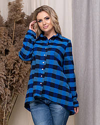 Стильная женская рубашка в клетку коттон длинный рукав.