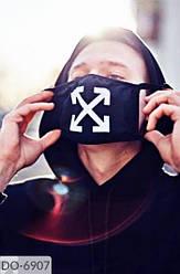 Многоразовая защитная декоративная маска для лица черная с принтом двухслойная