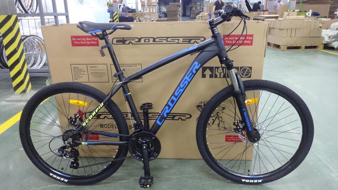 Спортивный горный велосипед Crosser Scorpio 26 дюймов черно-синий