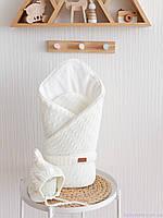 """Вязанный набор на выписку """"Косы"""": конверт + шапочка, молочного цвета, фото 1"""
