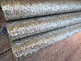 Экокожа (кожзам) с крупными блестками на тканевой основе, СЕРЕБРО (голограмма), 20х30 см