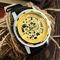 Механические мужские часы Winner 8012С Black-Silver-Gold