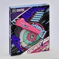 Игровой набор Арбалет с мишенью с 5 поролоновыми патронами на присосках, сине-розовый - Archery, XW Sport