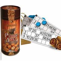 Настольная игра Лото в подарочной тубе. (туба, деревянные бочечки, карточки, фишки и мешочек)