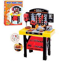 Детский Набор инструментов для мальчиков Стойка 46х75х25.5 см с верстаком, дрелью, детали для сборки арт. 0447