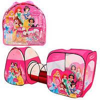 """Детская палатка двойная с тоннелем """"Принцессы"""" для дома и улицы, 2 входа, окна, размер 270-92-92 см арт. 3776"""