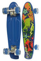 Детский скейт (пенни борд) со светящимися колесами, СИНИЙ АБСТРАКЦИЯ, размер 55-14,5 см, до 70 кг. арт. 0749