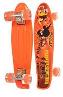 Детский скейт (пенни борд) со светящимися колесами, ОРАНЖЕВЫЙ АБСТРАКЦИЯ, размер 55-14,5 см, до 70кг арт. 0749