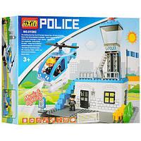 Игровой Развивающий Конструктор Полицейский участок 55 деталей, вертолет, крутятся лопасти JIXIN арт. 8188С