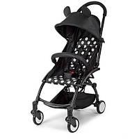 """Детская прогулочная компактная коляска (подстаканник, чехол, корзина) (тип """"Yoya"""") черная в горошек арт. 3548-2-2"""