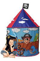 Детская палатка Шатер для дома, вход - накидка на завязках, два окна с сеткой, 105х105х125 см, синяя арт. 3317