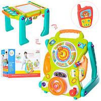 Детский Развивающий Игровой центр 3в1 каталка, ходунки, столик, звук и свет. элементы, телефон, руль арт. 2107