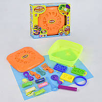 Детский цветной пластилин (тесто) для лепки в контейнере с аксессуарами и формочками для лепки арт. 2216