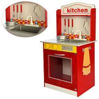 Детская деревянная игрушечная кухня с аксессуарами, размер кухни 75-43-25 см арт. 1207