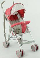 Детская прогулочная коляска-трость с 2х точечным ремнем и ортопедической спинкой, TM JOY, красная арт. 108 S