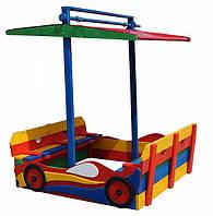 """*Детская сосновая песочница для улицы """"Машина"""" с лавочками и крышей, размер песочницы 145-145-160 см арт. 12"""