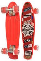 Детский Скейт (пенни борд) Penny board со светящимися колесами, 56х14.5 см, до 70 кг, КРАСНЫЙ АБСТР. арт. 0749