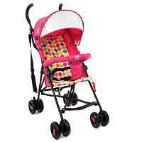 Детская прогулочная коляска-трость с 2х точечным ремнем и ортопедической спинкой, TM JOY, розового цвета арт. 108 T
