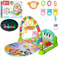 Детский Развивающий Музыкальный Игровой Коврик для малышей, светящееся пианино, съемные игрушки арт. 698-55