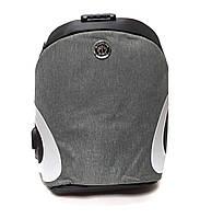 Рюкзак, сірий, текстиль+шкірзам Арт.L7029 (Китай) (Стильный практичный рюкзак для ноутбука.)