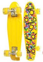 Детский скейт (пенни борд) Penny board со светящимися колесами, ЖЕЛТАЯ АБСТРАКЦИЯ, размер 55-14,5 арт. 0749