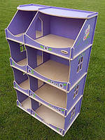 Игровой Кукольный Домик-шкаф для игрушек Hega для дома и улицы с росписью сиреневый 60х30х114 см арт. TM Hega*