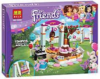 Детский Развивающий Конструктор для девочек Bela Friends День рождения, 194 детали, 3 фигурки арт. 10492