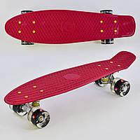 Детский скейт (пенни борд) Penny board со светящимися колесами, вишневого цвета, размер 55-14,5 см арт. 0110