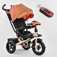 Детский Трехколесный Велосипед с надувными колесами, поворотное сиденье, фара, пульт Best Trike арт. 6088-2230