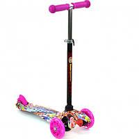 Детский Самокат для детей 3-х колесный, светящ. колеса, руль 56-66 см, ABEC-7, Best Scooter, розовый арт. 129