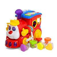 Детская Игрушка Музыкальный паровозик сортер Ту-Ту, изучение букв, цифр, 6 цветов и форм, пианино арт. 9155